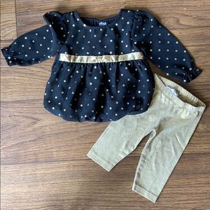 Healthtex 3-6 month gold and black star outfit